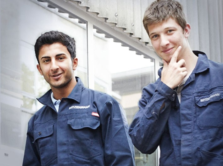 Two apprentices blue overalls Contentslider